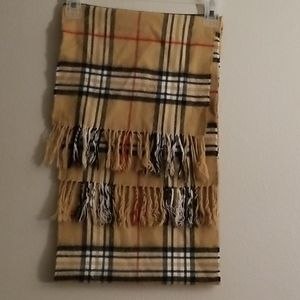 Tan plaid soft warm winter scarf